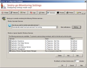 Check that Windows services are running. The monitor can inform you, or restart them automatically as needed